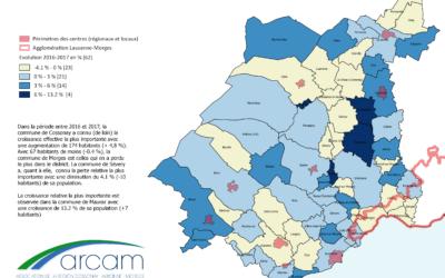 Croissance de la population dans le district de Morges entre 2016 et 2017