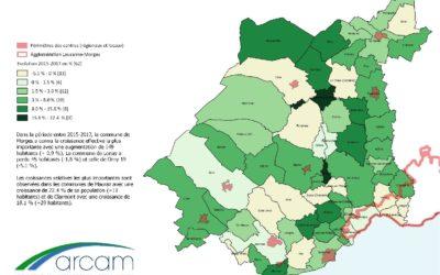 Croissance de la population dans le district de Morges entre 2015 et 2017