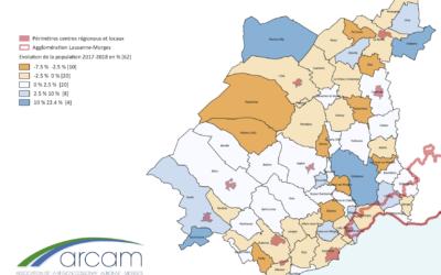 Évolution de la population dans le district de Morges 2017-2018